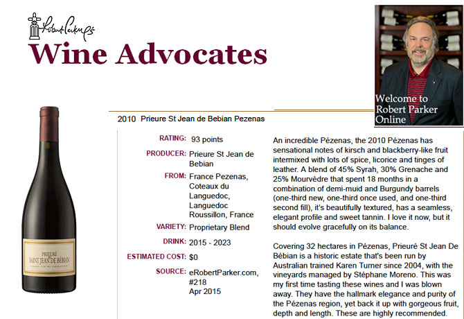 93 points par Robert Parker's Wine Advocate